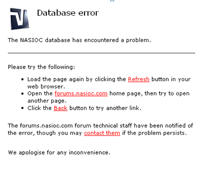 lỗi database error vbbb